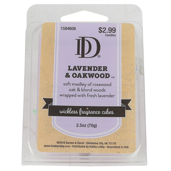 D&D, Lavender and Oakwood Wickless Fragrance Cubes, Lavender, 2 1/2 ounces