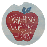 Brownlow Gifts, Teaching Car Coaster, Stoneware, Multi-Colored Patchwork Apple, 2.50 inches