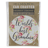 Carson Home Accents, World's Best Grandma Round Car Coaster, Stoneware, Blue, 2 5/8 Inches