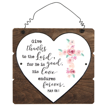 Psalm 106:1 Give Thanks To The Lord Wall Decor, MDF and Metal, White, 7 3/8 x 7 7/8 x 3/8 inches