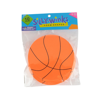 Silly Winks, Basketball Foam Shapes, 4.50 Inches, 10 Each, Ages 4 and up