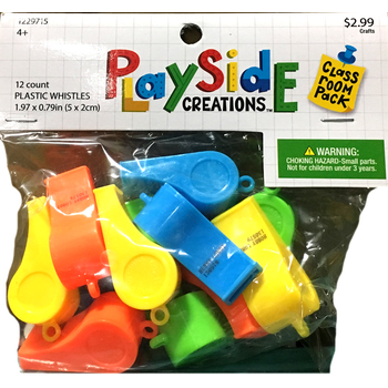 Playside Creations, Plastic Whistles, 3 Inches, Assorted, 12 Count