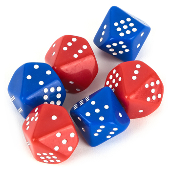 Learning Advantage, Subitizing Dice, 20 mm, Red and Blue, Set of 6