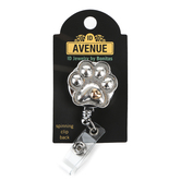 ID Avenue, Paw Print with Heart Retractable Badge Reel, Silver and Gold, 3 1/8 x 1 1/4 inches