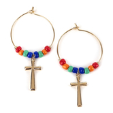 Radiant Sol, Cross and Colorful Beads Hoop Earrings, Zinc Alloy and Glass, Gold