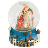 Miniature Nativity Snow Globe, Poly Resin and Glass, 2 1/2 x 2 inches
