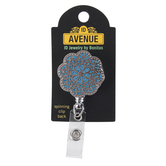 ID Avenue, Marrakech Flower Badge Reel, Blue & White, 1 1/2 x 3 inches