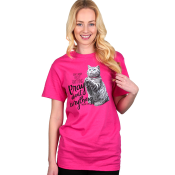 NOTW, Don't Worry About Anything Pray About Everything, Women's Short Sleeve T-Shirt, Pink, S-2XL