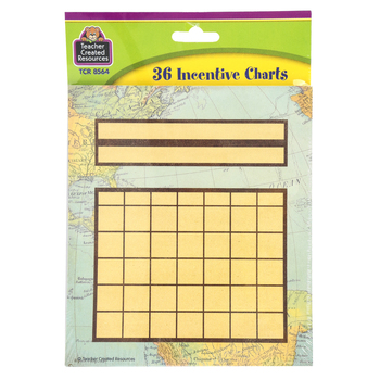 Teacher Created Resources, Travel the Map Mini Incentive Charts, 5 1/4 x 6 Inches, 36 Sheets