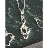 Dicksons, Treble Clef with Cross Necklace, Silver Plated, 18 inches
