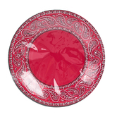 Western Party Red Bandana Paper Plates, Large, 10-1/2 inch Diameter, 10 Count