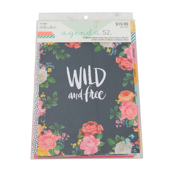 the Paper Studio, agenda 52 Petals and Blooms Non-Dated Planner Inserts, 96 pages, 8 1/4 x 5 3/4   inches