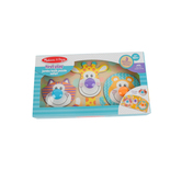 Melissa & Doug, First Play Wooden Jumbo Knob Safari Animal Puzzle, 4 Pieces, Ages 12 Months & Older
