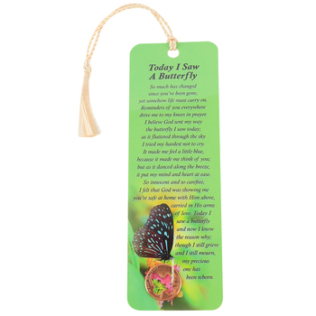 Dicksons, Today I Saw A Butterfly Tassel Bookmark with Pocket Coin, 2 x 6 inches