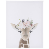 Floral Giraffe Wall Decor, Canvas, White and Brown, 14 x 11 x 1 1/2 inches