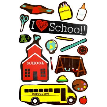 Chalk Talk Collection, I Love School Bulletin Board Set, 22 Pieces