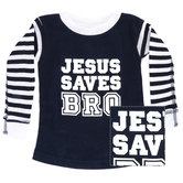 New Ewe, Jesus Saves Bro, Baby Long Sleeve Pajama Top, Navy and White, 6 Months-24 Months