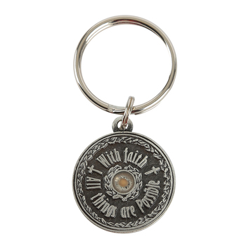 H.J. Sherman, Mustard Seed All Things Are Possible Keyring, Pewter, Silver, 2 x 1 inches
