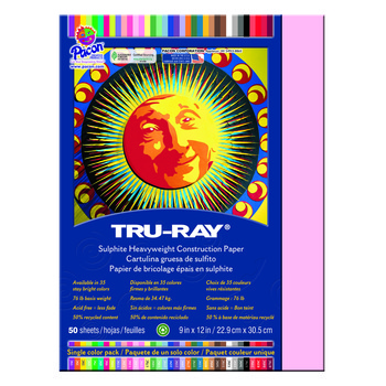 Tru-Ray® Sulphite Construction Paper, 9 x 12 inches, Pink, 50 Sheets