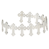 Bella Grace, Linked Crosses Bangle Bracelet, Zinc Alloy, Shiny Silver