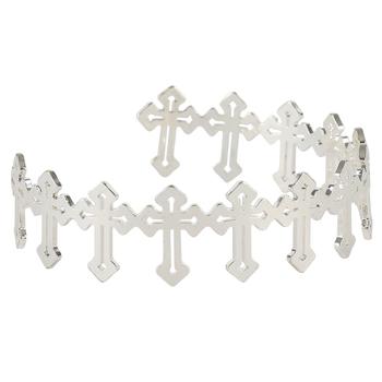 Bella Grace, Linked Crosses Bangle Bracelet, Zinc Alloy, Shiny Silver