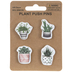 Potted Plant Push Pins, Assorted Colors, Pack of 4