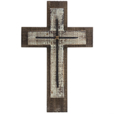 Layered Wall Cross with Nails, Wood, Natural and Whitewashed, 10 1/4 x 15 3/4 inches