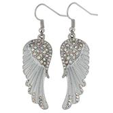 Modern Grace, Angel Wings with Crystal Stones Dangle Earrings, Zinc Alloy, Silver