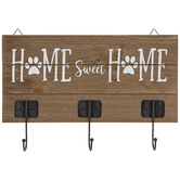 Home Sweet Home Wall Decor with Hooks, Wood and Metal, Brown, 10 1/4 x 15 9/16 x 2 3/4 Inches