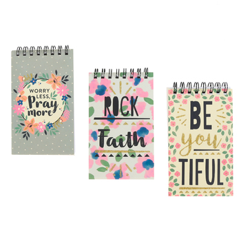 Playside Creations, Christian Floral Mini Spiral Notebooks, 3 x 5 inches, 1 Each of 3 Designs