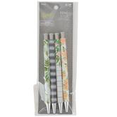 Fiddlestix Paperie, Farmhouse Pen Set, Plastic, Floral and Stripes, 4 Piece Set