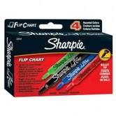 Sharpie, Flip Chart Markers, Bullet Tip, Assorted Colors, Pack of 4
