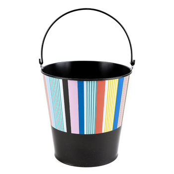 Colorfetti Collection, Metal Bucket, Large 8 x 8.75-inch, Black with White and Multi-Colored Stripes