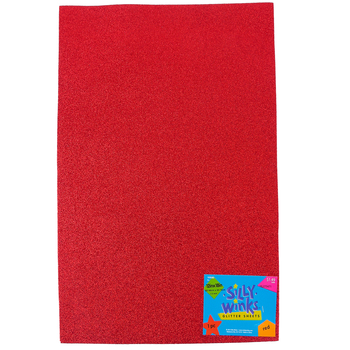 Silly Winks, Glitter Foam Sheet, Red, 12 x 18 Inches, 1 Each