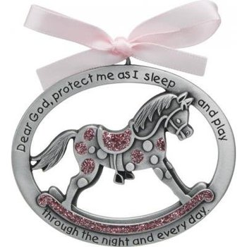 Abbey and CA Gift, Pewter Rocking Horse Crib Ornament for Girl, Silver and Pink, 2 1/2 x 2 inches