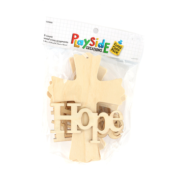 Playside Creations, Faith, Hope, and Love Wood Cross Ornaments, 6 Count