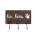 His Hers Paw Print Wall Decor with Hooks, Wood, Brown & Metal, 5 x 9 inches