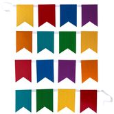 Renewing Minds Collection, Primary Patterns Double-Sided Pennant Banner with Ribbon, 7 Designs, 16 Flags, 12 Feet