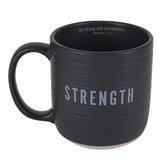 Lighthouse Christian, Strength Scripture Ceramic Mug, Kraft Gift Box, Textured Black, Sand, 18 Oz