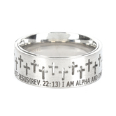 Spirit & Truth, Revelation 22:13, Alpha Omega Knight, Men's Ring, Stainless Steel, Sizes 8-13