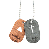 Soul Anchor, Faith and Strength Dog Tag Necklace, Zinc Alloy, Silver and Copper, 24 inches