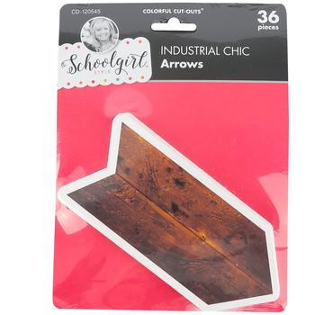Schoolgirl Style, Industrial Chic Arrows Cutouts, 2.7 x 6 Inch, 36 Pieces
