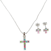 H.J. Sherman, Cross Necklace and Earrings Set, Cubic Zirconia, Multi-Colored