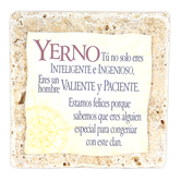 Product Concept Manufacturing, Yerno Spanish Tabletop Plaque, Natural Stone, 4 x 4 inches