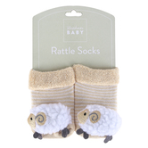 Stephan Baby, Lamb Rattle Socks, Cotton & Spandex, Cream & White, 3-12 Months