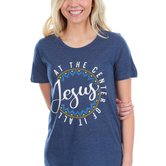 Southern Grace, Jesus at the Center of it All, Women's Short Sleeve T-shirt, Navy, S-2XL