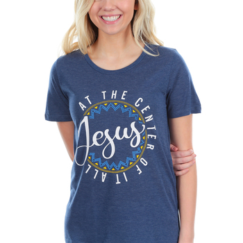 Southern Grace, Jesus at the Center of it All, Women's Short Sleeve T-shirt, Navy, Large