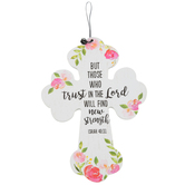 Isaiah 40:31 Hanging Floral Mini Cross, MDF Wood, White, 4 x 5 1/2 inches