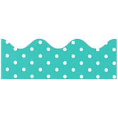 Renewing Minds, Scalloped Border Trim, 38 Feet, Turquoise with White Polka Dots
