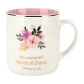 Christian Art Gifts, Proverbs 31:25 Strength & Dignity Coffee Mug, Ceramic, 14 ounces